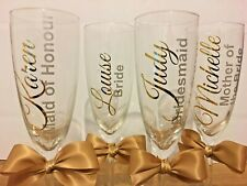 Personalised Name Champagne Flute Wedding Bridal Hen Party Role Chrome Gold