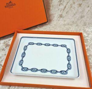 HERMES PARIS Porcelain Ashtray Tray CHAINE D'ANCRE 16 x 12 cm w/ Case (NEW) 2