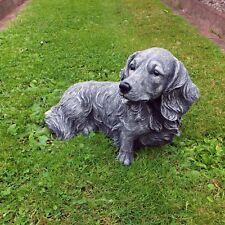 Steinfigur Dackel Langhaar Teckel Hund Tierfigur Steinguss Garten Frostfrei
