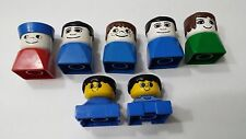 Vtg Set of 7 Duplo People Figure Heads Lego Building Blocks Toy Children
