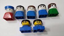 Vtg Set of 7 Duplo People Figure Heads Lego Building Blocks Toy Children
