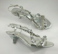 Next size 6 (39) wide fit silver leather embellished strappy kitten heel sandals