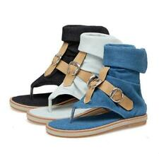 Womens Flip-flop Sandals Denim Flats Gladiator Roma Boots Buckle Shoes Summer