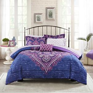 Twin/TwinXL Bed In Bag Bedding Set Microfiber Comforter Purple Modern Medallion