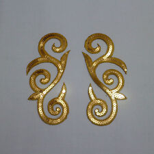 Mirror Pair Embroidery Sequins Gold Metal Appliques/Patch Motif~Sew On Gold