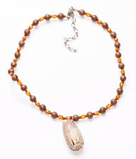 TROPICAL ORANGE & TAUPE BEAD ADJUSTABLE CHOKER WITH NATURAL SHELL PENDANT (ZX44)