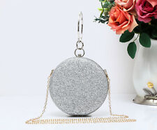 New Ladies Round Sparlking Glitter Wdding Party Bridal Prom Clutch Evening Bag
