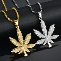 Daobg-stable Unisex Iced Out Weed Maple Leaf Pot Pendant Necklace Chain Jewelry