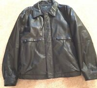 Kenneth Cole Mens Leather Motorcycle Jacket Black Soft Size Large SMALL FLAW