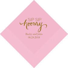 500 Sip Sip Hooray Personalized Printed Wedding Cocktail Napkins