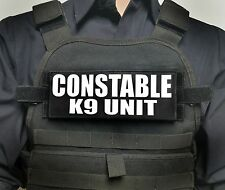 "3x8"" CONSTABLE K9 UNIT White Black Tactical Hook Plate Carrier Patch SWAT Police"