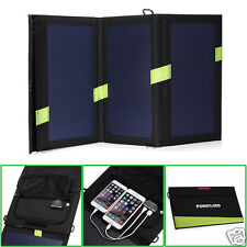 20W Solar Panel Dual USB Power Bank Camping & Hiking Portable Battery Charger