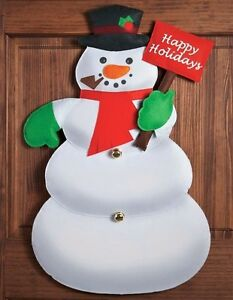 """Snowman Greeter Happy Holidays Door Welcome Sign Wall Decor 32""""L"""