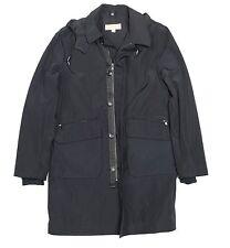 NEW Michael Kors Mens Full Zip Button Front Hooded Raincoat Medium M Black $450