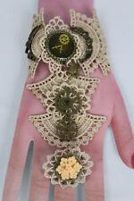 Women Gold Hand Chain Bracelet Beige Lace Flower Ring Clock Angel Wing Steampunk