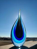 "Stunning Large 11"" X 4.5"" Murano Style Teardrop Art Glass Sculpture Colorful"
