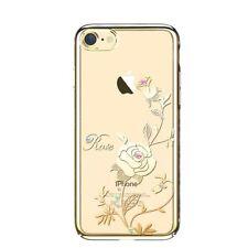 SWAROVSKI Element Foliflora Rose Back Cover Case for iPhone 7-Gold Frame
