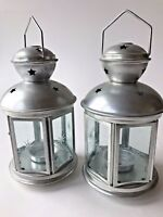 Set 2 metal lamps star cutouts tealight holder handle aluminum glass lantern new