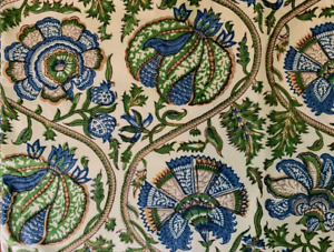 Pottery Barn throw pillow cover nwot Mia Block Print Floral Blue Green Square