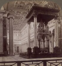 Italy. Alter of St. Paul's Presented To Pius IX By An Infidel, Rome. Stereoview