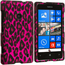 For Nokia Lumia 521 Hard Design Rubberized Case Cover Hot Pink Leopard