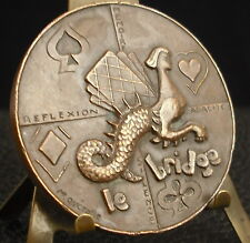 Médaille Bridge Animal mythpologique Sirène Mermaid Cartes par Quérolle Medal 铜牌