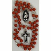 Damascene Silver Rosary Crucifix Virgin Mary Red Beads by Midas of Toledo Spain