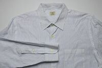 J. Crew Mens 2-Ply Cotton Button Down Shirt Size Large Blue White Pin Stripe