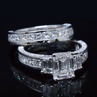New! 3.80 Ct 3-Stone Emerald w/ Pave Diamond Bridal Ring Set G,VS1 GIA 18K WG