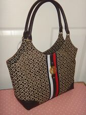TOMMY HILFIGER Womens Signature Tote Bag Purse Beige Brown Chocolate Canvas Gold