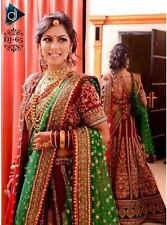 Beautiful Red Green Designer Bollywood Lehenga With Double Dupatta Bridal Wear