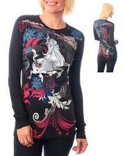Women's Stylish Black Unicorn Print Rhinestone Blouse Top 100% Cotton Size S