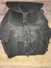 Camel Black Leather Backpack