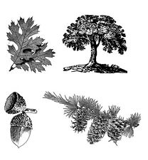 "Clear stamp (2.5""x3"")Acorn Oak Pinecone Leaf FLONZ vintage acrylic rubber stamps"