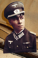 German WW 2 Colonel Erwin Rommel Before Promotion Colorized Photo Standee 10.5""