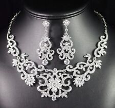 Gorgeous Austrian Rhinestone Crystal Bib Necklace Earrings Set Bridal Prom N89