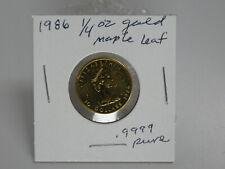 CANADA 1986 GOLD Maple Leaf  $10 Ten-Dollar .9999 PURE GOLD 1/4 oz COIN (UNC)