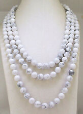 Fine 8mm Natural White Howlite Turquoise Gemstone Round Beads Necklace 18-48''