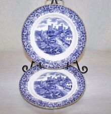 """TWO Sutherland China H.M. Historical Britain Blue Conway Castle 8"""" Salad Plates"""