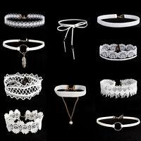 10pcs/set Punk Gothic Flower Lace Velvet Pendant Necklace White Collar Choker