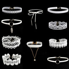 10pcs Women Gothic White Lace Tattoo Flower  Choker Collar Pendant Necklace