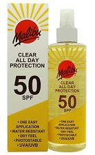 Malibu Clear All Day SPF 50 Protection Spray 250ml **FREE POSTAGE**
