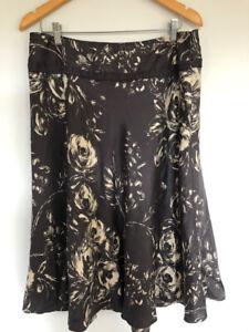 David Lawrence 12 Silk A Line skirt cream abstract rose print on charcoal grey