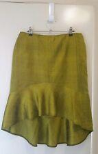 NEW Bitter lemon taffeta skirt with flounce, size 12-14