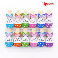 DIY Crafts Easter Decorations Wooden Clips Photo Pegs Cartoon Egg Rabbit