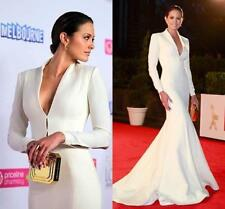 Long Sleeves Satin Mermaid Prom Dress Celebrity Party Formal Evening Gown Custom