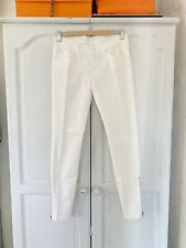 BNWT 7 For All Mankind Cream Jeans With Ankle Zips, Sz 25
