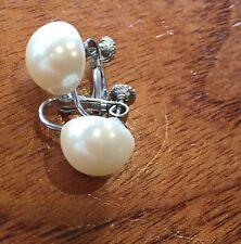 Vintage Marvella Signed Screwback Earrings 50s Pearl