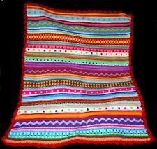 Handmade Retro Mix & Match Multi-Coloured Striped Crochet Baby Blanket Christmas