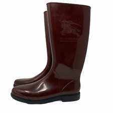Burberry Size EU 40 Rain Boots Burgundy Mid Calf Side Logo Made in Italy